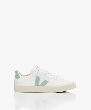 VEJA Campo Low Logo Leren Sneakers - Wit/Matcha