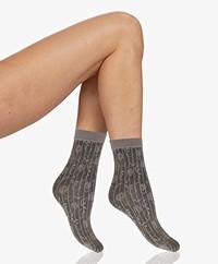 Wolford Maddie Geometrisch Bloemmotief Sokken - Fog/Zwart