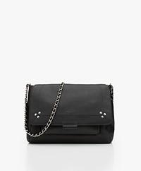 Jerome Dreyfuss Lulu M Leather Shoulder/Cross-body Bag - Black/Silver