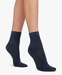 Wolford Maddie Geometrisch Bloemmotief Sokken - Blauw/Zwart