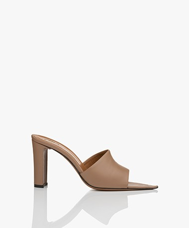 ATP Atelier Tuturano Leather Heeled Mules - Almond Vacchetta