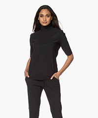 Woman by Earn Maartje Bonded Tech Jersey Turtleneck T-shirt - Black