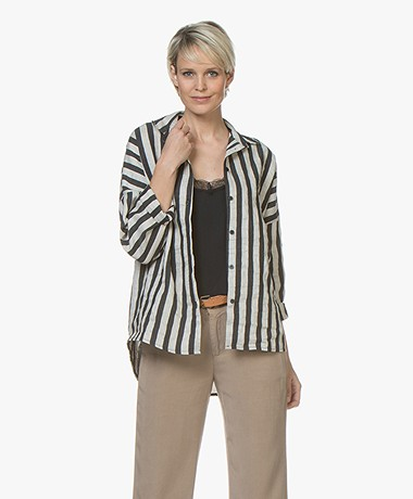 BY-BAR Trix Linen Blend Striped Blouse - Ecru/Black