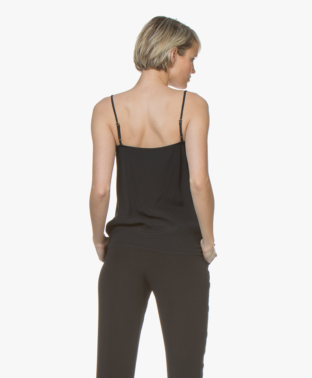 1d6edc2dbe774d BY-BAR Isa Viscose Camisole met Kant - Off-black - BY-BAR