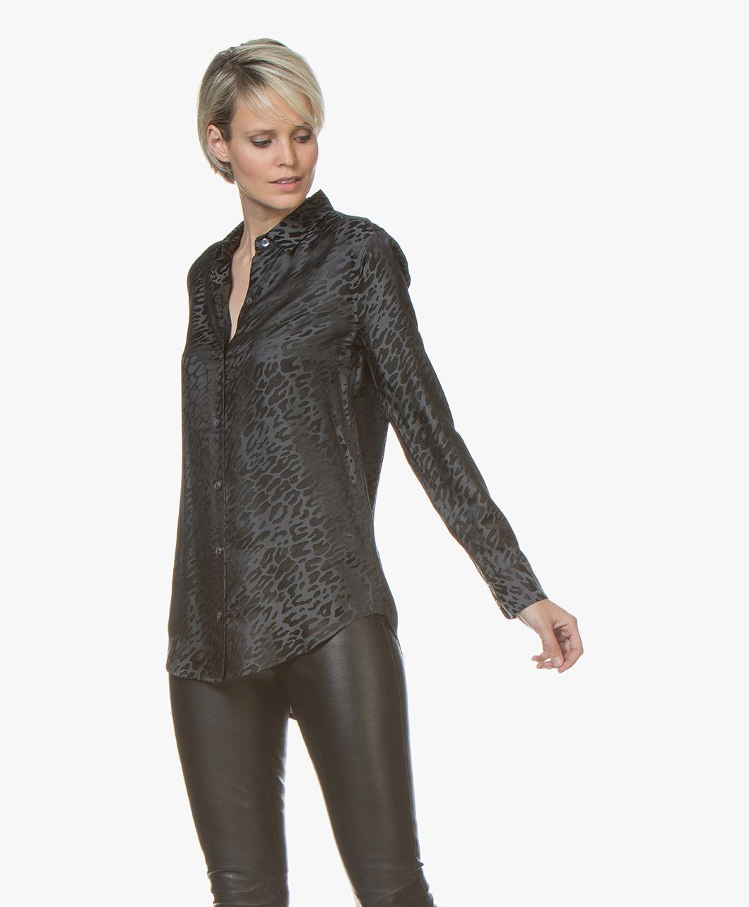92e9f827a34d45 Equipment Essential Silk Blend Jacquard Blouse - Black Multi -  18-4-003359-e900 true multi - true multi