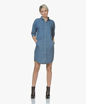BY-BAR Bloeme Cropped Sleeve Shirt Dress - Denim