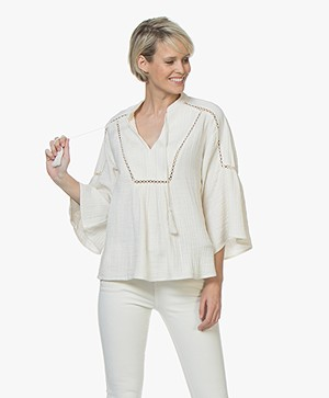 BY-BAR Dani Mousseline Ajour Blouse - Off-white