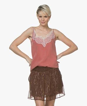 Drykorn Letitia Cupro Camisole met Kant - Terracotta Roze