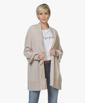 Repeat Open Cardigan with Shawl Collar from Cashmere - Light Beige