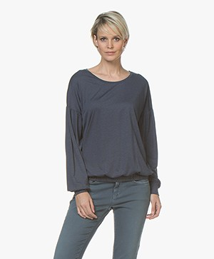 Closed Lyocell Long Sleeve with Puffed Sleeves - Aviator Blue