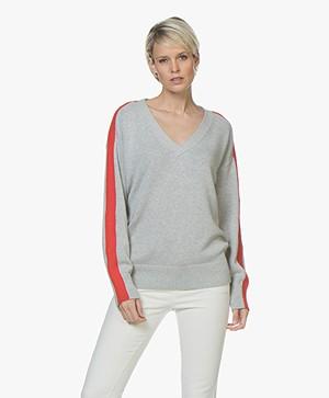 HUGO Sumaya Cotton Blend V-neck Pullover - Grey/Red
