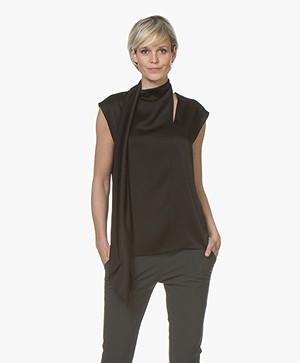 Joseph Birley Crepe Satin Shawl Collar Top - Black