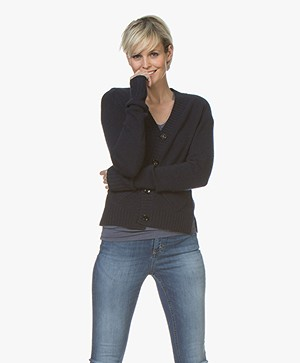 Joseph V-Neck Cardigan in Cashmere - Navy