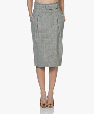 BOSS Velesta Checkered Pencil Skirt - Black/Off-white