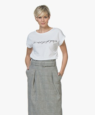 HUGO Dennali Slogan Print T-shirt - Wit