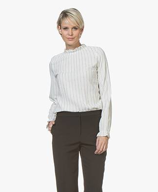 BY-BAR Abbi Pinstripe Blouse with Ruffles - Off-white