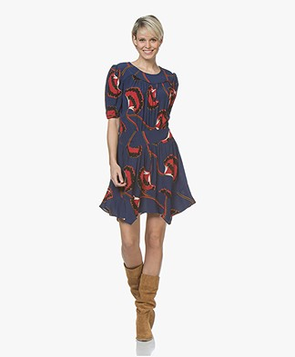ba&sh Leo Viscose Crepe Printed Dress - Navy