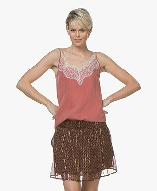 Drykorn Letitia Cupro Camisole met Kant - Terracotta Roze