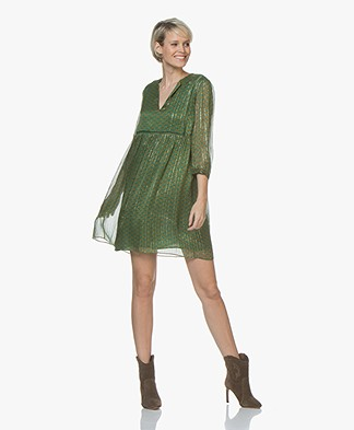 ba&sh Willow Lurex Print Dress - Green