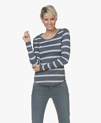 Closed Striped Cotton Blend Long Sleeve - Atlantis