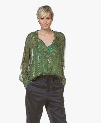 ba&sh Wize Printed Chiffon Blouse with Lurex - Green