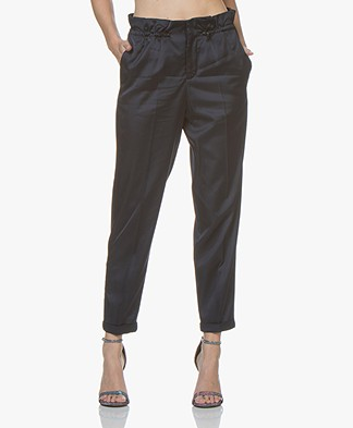 Closed Caro Satin Pants with High Waist - Dark Night