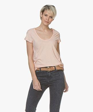 Drykorn Avivi Slub Jersey T-shirt - Apricot Pink