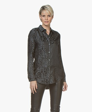 Equipment Essential Silk Blend Jacquard Blouse - Black Multi