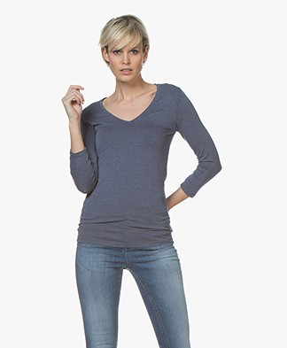 Majestic Filatures Soft Touch T-shirt with Cropped Sleeves - Denim Chiné