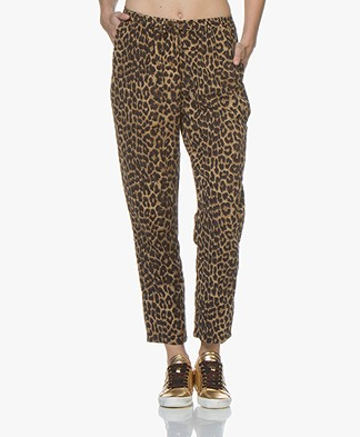 Mes Demoiselles Fatal Cotton Leopard Print Pants - Brown