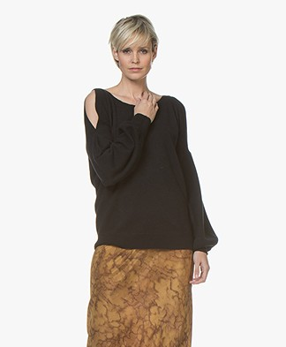 Repeat Open-shoulder Pure Cashmere Sweater - Black