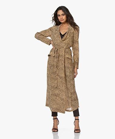 Mes Demoiselles Rosita Panther Print Midi Dress/Trenchcoat - Beige