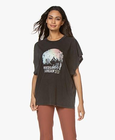 IRO Smoky Oversized k Print T-Shirt - Black Stone
