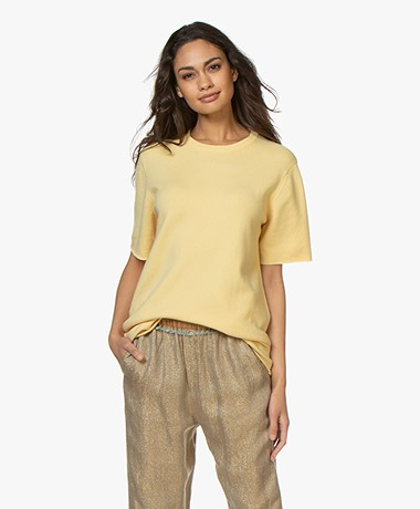 extreme cashmere N°64 Long Knitted Cashmere T-shirt - Banana