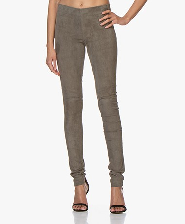 Joseph Legging in Stretch Suede - Olijfgroen