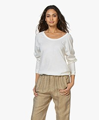 Majestic Filatures U-neck Long Sleeve with Cashmere - Milk