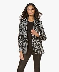 Drykorn Atlin Zebra Print Knitted Blazer - Grey