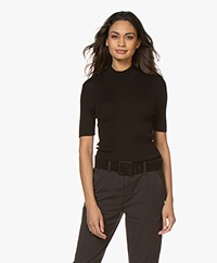 Drykorn Jary Silk Blend Ribbed Turtleneck Sweater - Black