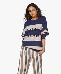 Closed Striped Logo Sweater - Japanese Blue