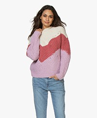 ba&sh Balmy Chunky Knitted Sweater - Pink/Off-white