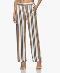 LaSalle Viscose Pants with Jacquard Stripes - Off-white/Brown