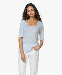 Filippa K Tencel Scoop Neck Tee - Atlantic Blue