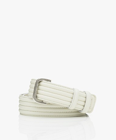 Closed Leather Double D-ring Belt - Ivory