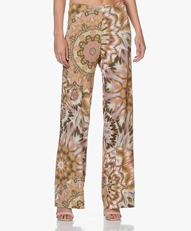 no man's land Kaleidoscope Print Jersey Pants - Safari Green