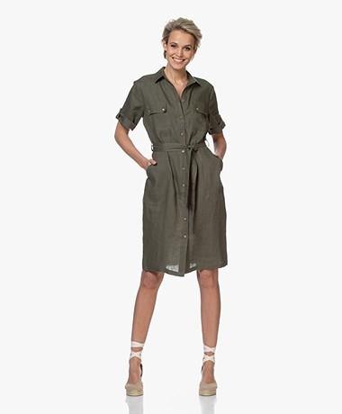 LaSalle Linen Safari Shirt Dress - Khaki
