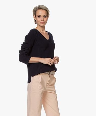 Repeat V-neck Cotton Rib Sweater - Navy