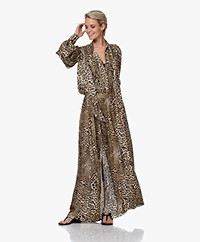 Zadig & Voltaire Run Leopard Print Satin Maxi Dress - Naturel