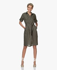LaSalle Linen Safari Shirt Dress - Khaki