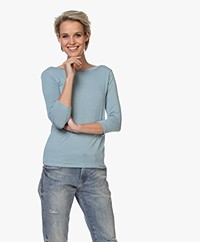 Majestic Filatures Viscose Cropped Sleeve T-shirt - Summer Blue