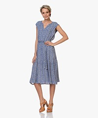 indi & cold Printed Viscose Midi Dress - Blue/Ecru